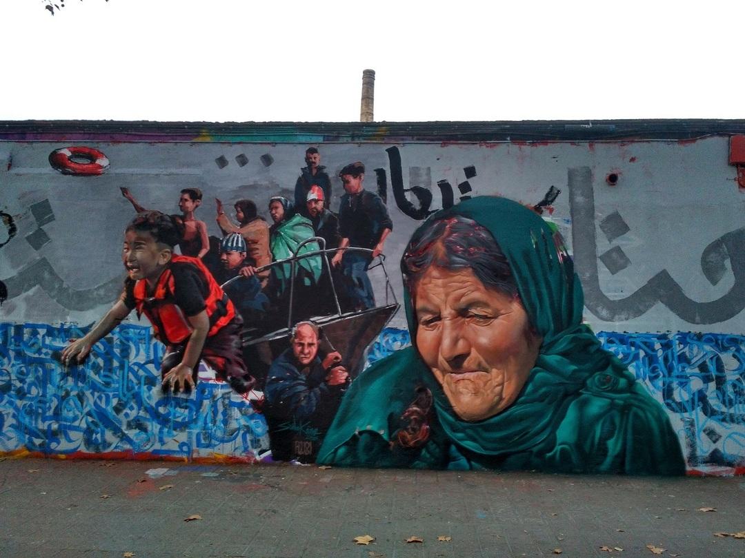 Wallspot - evalop - Refugiados (SWaknine/Rubicon/Fastigos Bendros) - Barcelona - Selva de Mar - Graffity - Legal Walls - Il·lustració - Artist - S.Waknine