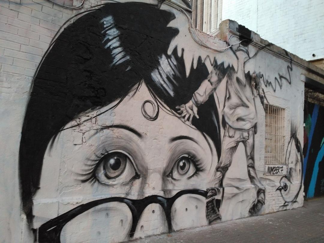 Wallspot - evalop - Sorprendida ante el hombre pájaro - Barcelona - Western Town - Graffity - Legal Walls - Il·lustració - Artist - elmanu