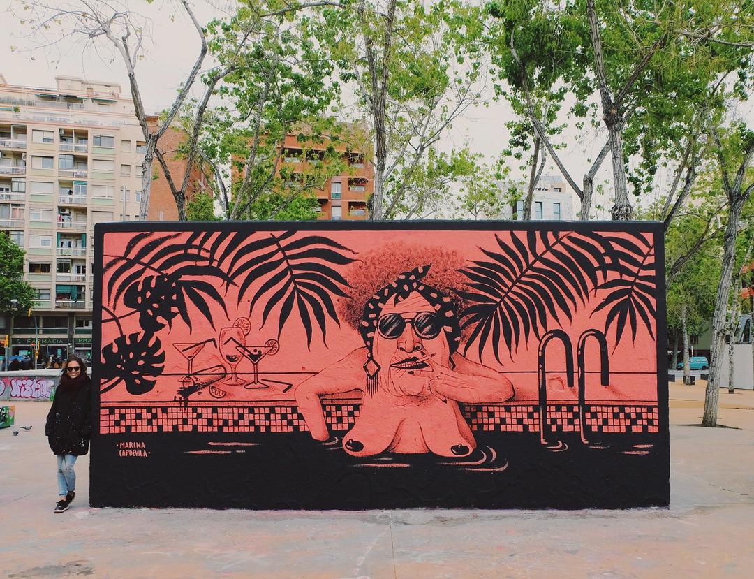 Wallspot - Marina Capdevila - Tres Xemeneies - Marina Capdevila - Barcelona - Tres Xemeneies - Graffity - Legal Walls - Il·lustració