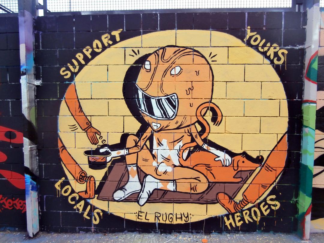 Wallspot - El Rughi - Support Yours Locals Heroes - Barcelona - Drassanes - Graffity - Legal Walls - Il·lustració, Altres