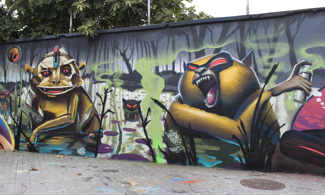 Wallspot - cbs350 - Harry bones + musa71 + grisone + feaconescote - Barcelona - Agricultura - Graffity - Legal Walls - Letters, Illustration