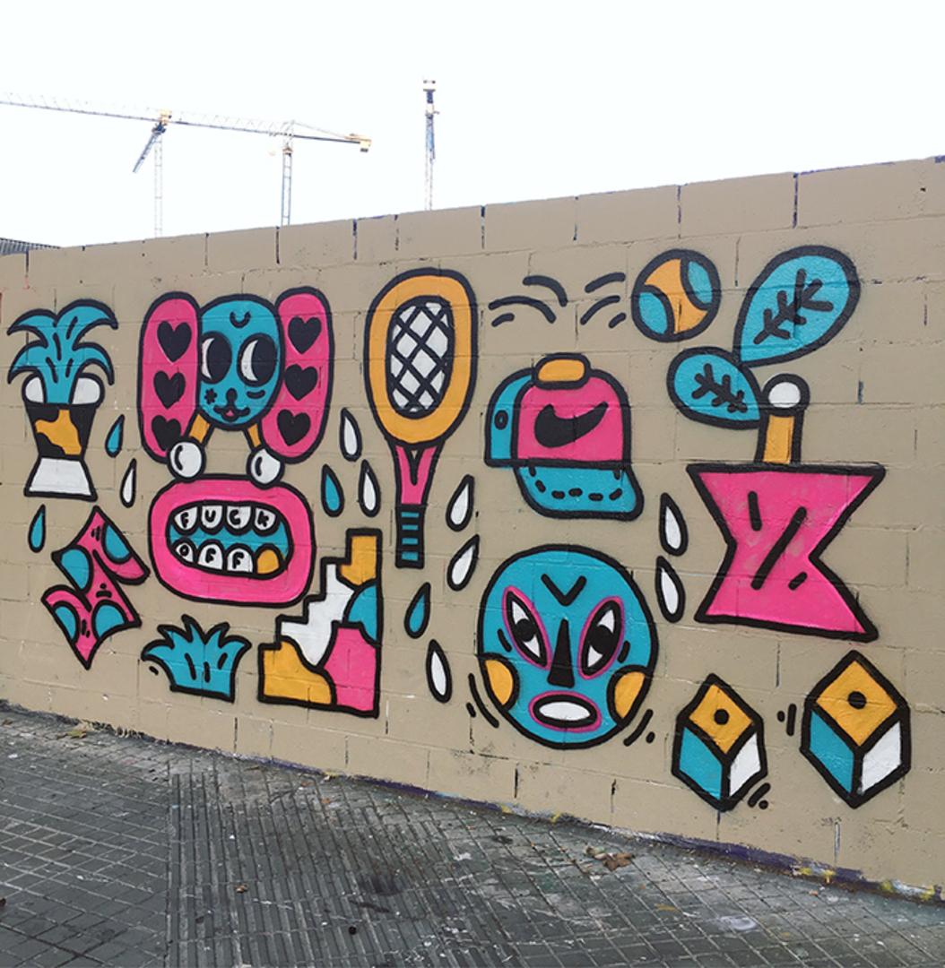 Wallspot - EmilyE - Poble Nou - EmilyE & NinjaXpert - Barcelona - Poble Nou - Graffity - Legal Walls - Ilustración