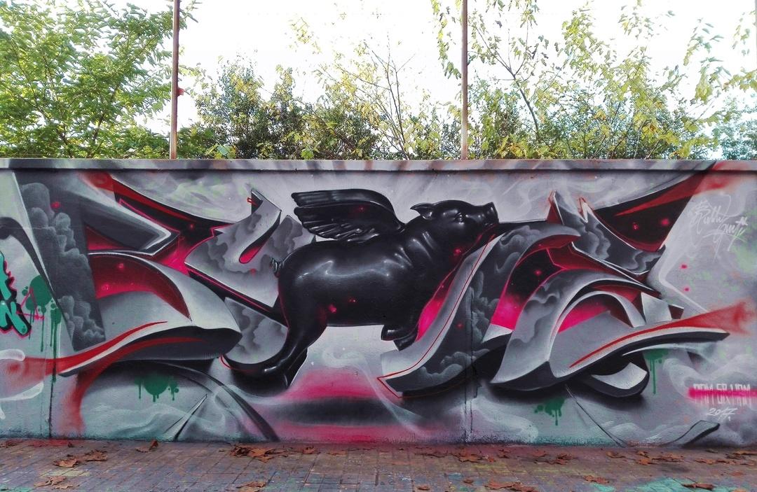 Wallspot - Bublegum - Agricultura - Bublegum - Barcelona - Agricultura - Graffity - Legal Walls - Lletres, Il·lustració