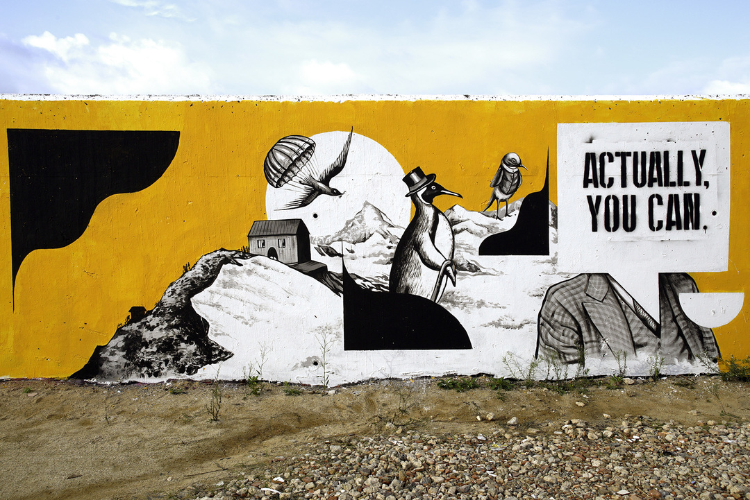 Wallspot - Daniela Carvalho - Actually you can - Barcelona - Forum beach - Graffity - Legal Walls - Ilustración, Stencil