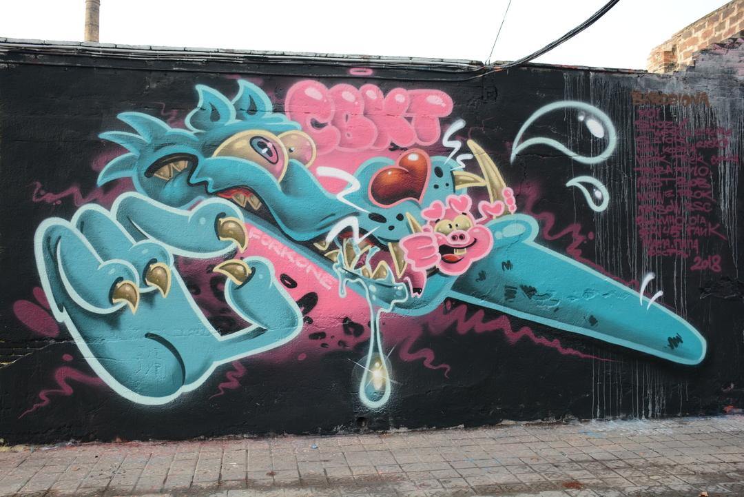 Wallspot - Lluís Olivé - FORK ONE - Barcelona - Selva de Mar - Graffity - Legal Walls - Illustration