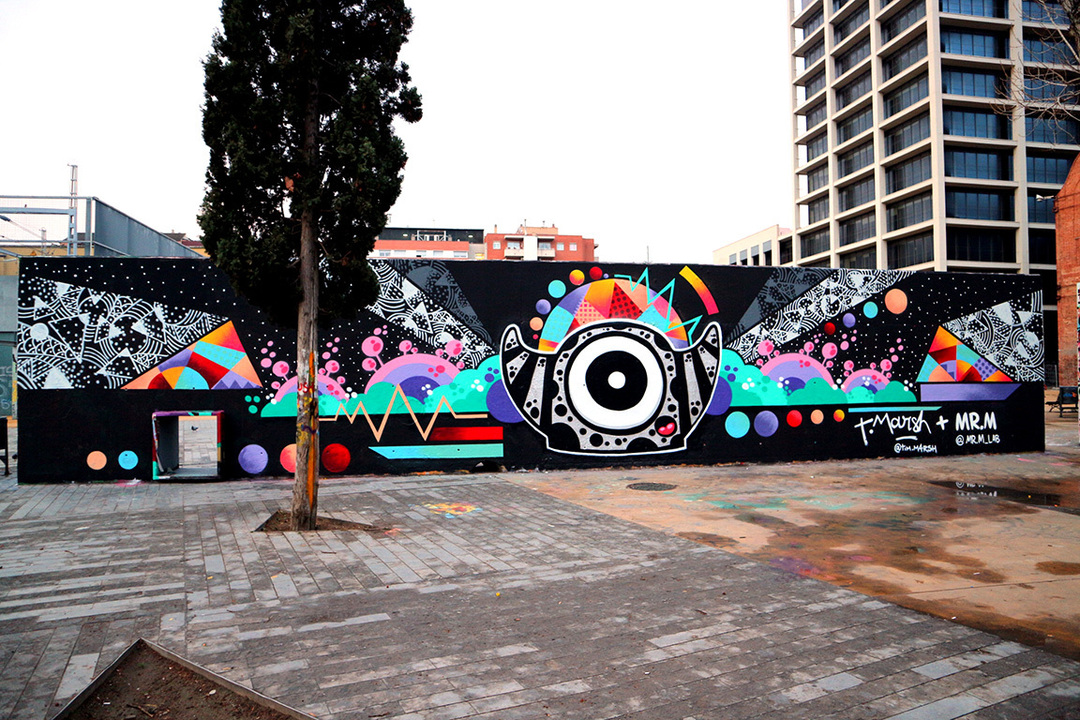 Wallspot - Mr.M - Tres Xemeneies - Mr.M + Tim Marsh - Barcelona - Tres Xemeneies - Graffity - Legal Walls -