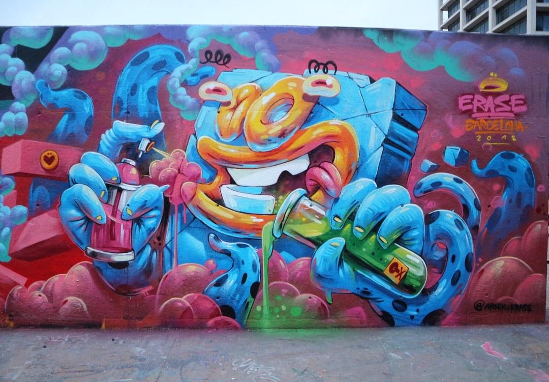 Wallspot - senyorerre3 - Art ERASE - Barcelona - Tres Xemeneies - Graffity - Legal Walls - Illustration