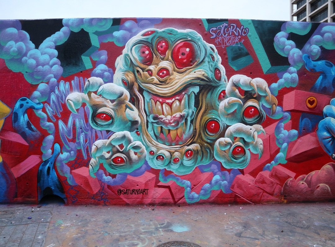 Wallspot - senyorerre3 - Art SATURNO - Barcelona - Tres Xemeneies - Graffity - Legal Walls - Illustration - Artist - saturnoags