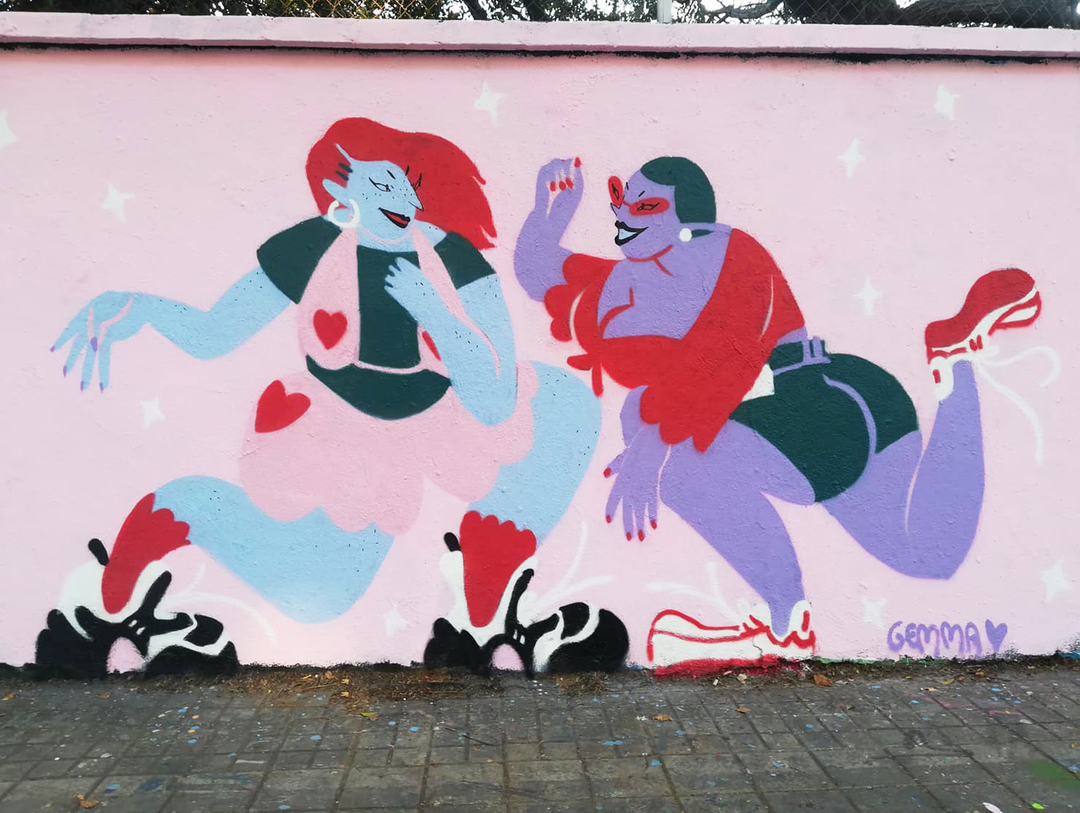 Wallspot - gemfontanals - Girls' Night Out - Barcelona - Agricultura - Graffity - Legal Walls - Illustration