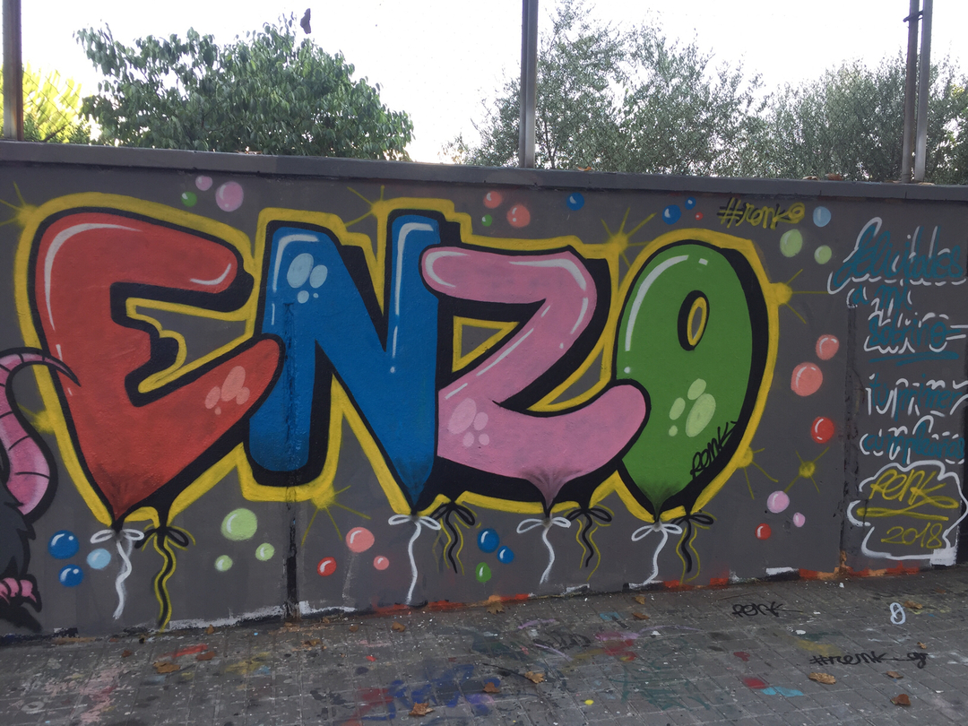 Wallspot - Renk_graff - 1er Aniversario Enzo - Calle Pallars  - Barcelona - Agricultura - Graffity - Legal Walls - Letters