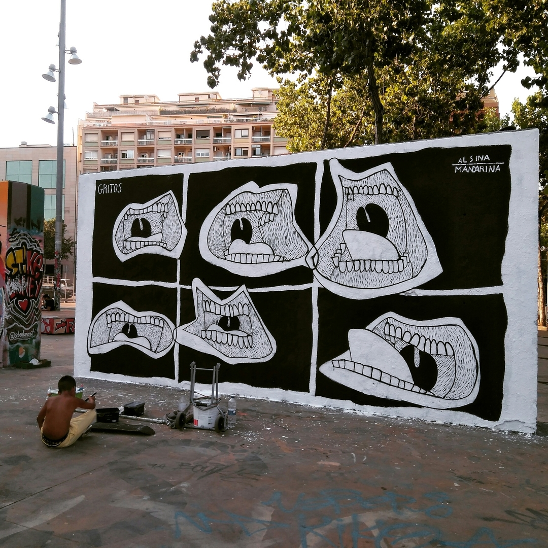 Wallspot - Alsina Mandarina - Gritos 2 - Barcelona - Tres Xemeneies - Graffity - Legal Walls - Illustration