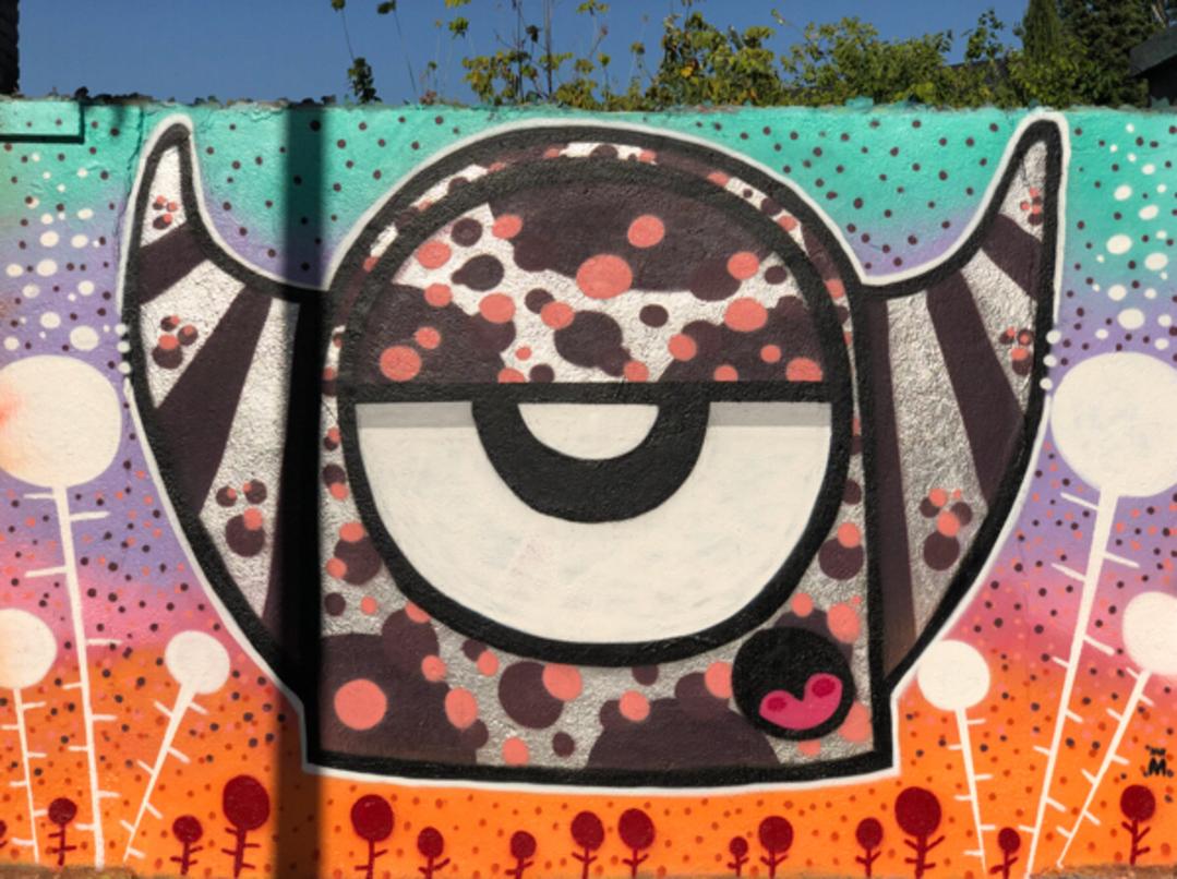 Wallspot - BCN Urban Art - Mr. M en Poble Nou  - Barcelona - Poble Nou - Graffity - Legal Walls - Il·lustració - Artist - Mr.M