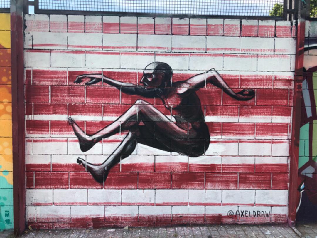 Wallspot - BCN Urban Art - Axeldraw als Jardins de Walter Benjamin  - Barcelona - Drassanes - Graffity - Legal Walls - Il·lustració - Artist - @Axeldraw