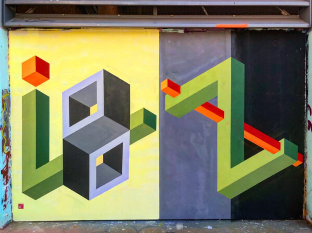 Wallspot - BCN Urban Art - Ben Hunter al parc de les tres xemeneies  - Barcelona - Tres Xemeneies - Graffity - Legal Walls - Il·lustració