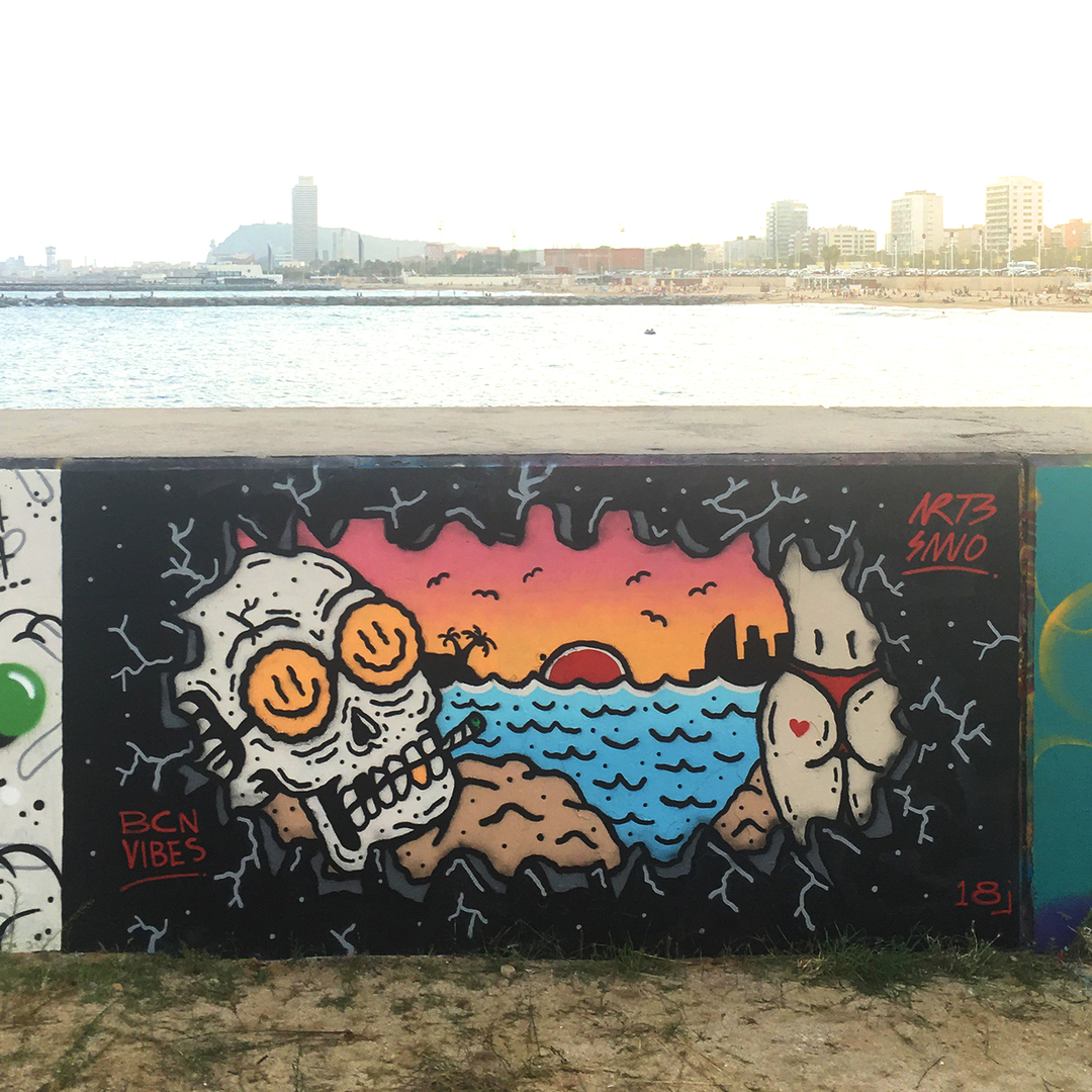 Wallspot - art3sano - Forum beach - art3sano - Barcelona - Forum beach - Graffity - Legal Walls -