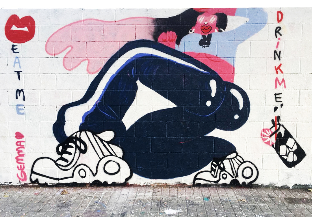 Wallspot - gemfontanals - Rocío in Wonderland - Barcelona - Poble Nou - Graffity - Legal Walls - Illustration