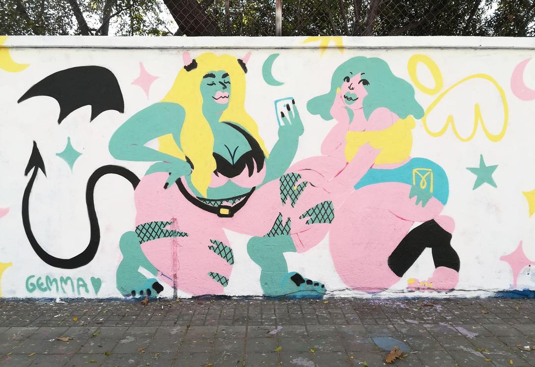 Wallspot - gemfontanals - A Veces Ángel A Veces Demonio - Barcelona - Agricultura - Graffity - Legal Walls - Ilustración