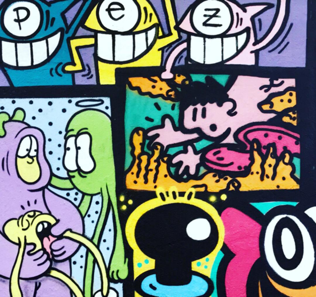 Wallspot - kamil escruela - mixed chupet negre el pez yoshpoison birdie kamil - Barcelona - Agricultura - Graffity - Legal Walls - Il·lustració, Altres