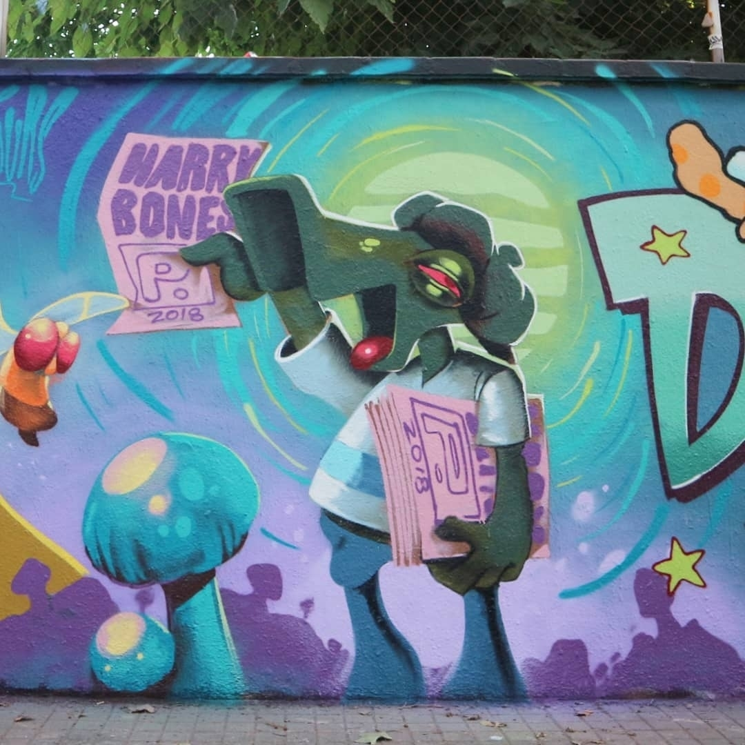 Wallspot - senyorerre3 - Art HARRY BONES - Barcelona - Agricultura - Graffity - Legal Walls - Ilustración