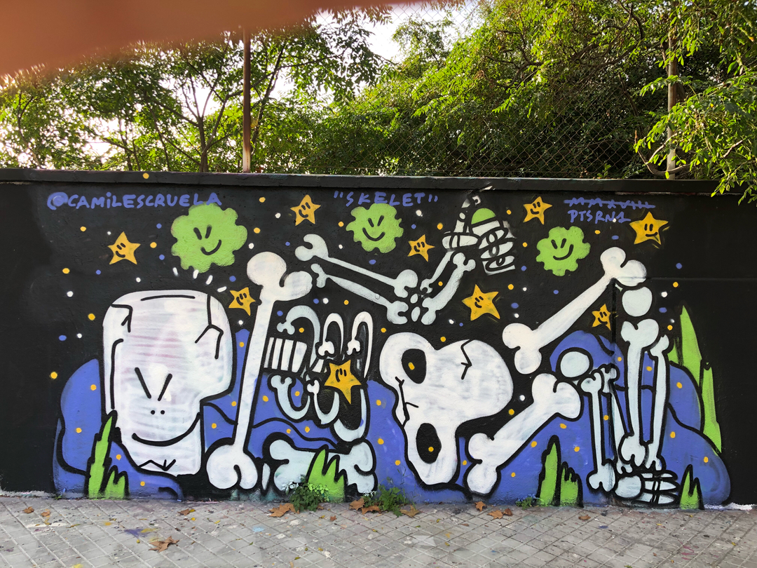 Wallspot - kamil escruela - skelet - Barcelona - Agricultura - Graffity - Legal Walls - Ilustración