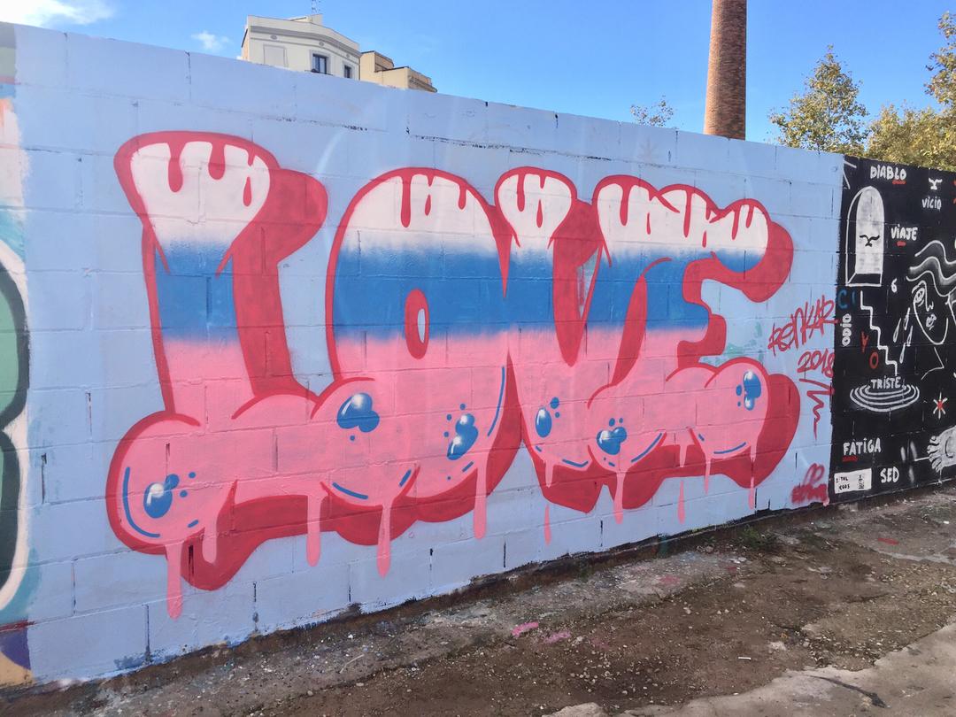 Wallspot - Renk_graff - Love and Love - Barcelona - Poble Nou - Graffity - Legal Walls - Lletres