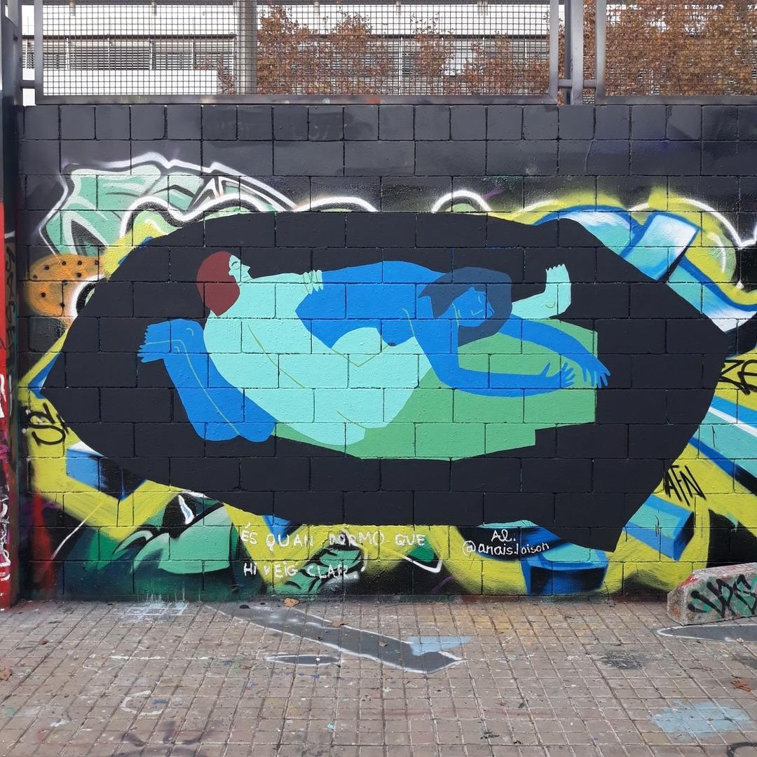 """Wallspot - ansloi - Drassanes - """"És quan dormo que hi veig clar"""" - Barcelona - Drassanes - Graffity - Legal Walls - Illustration"""