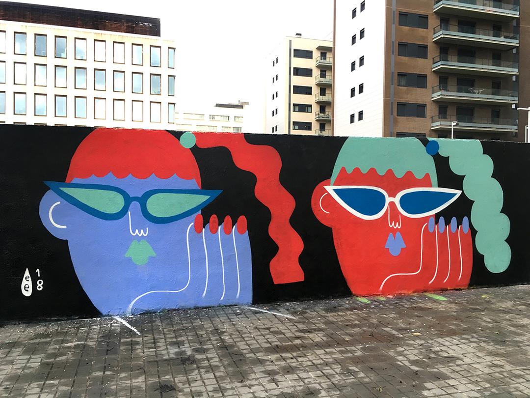 Wallspot - EmilyE - PowerPuffs - Barcelona - Poble Nou - Graffity - Legal Walls - Ilustración