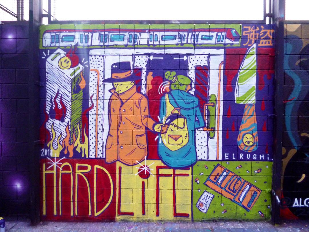 Wallspot - El Rughi - Life is hard - El Rughi - Barcelona - Drassanes - Graffity - Legal Walls - Il·lustració