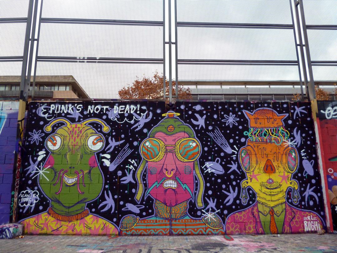Wallspot - El Rughi - Punk's Not Dead! - El Rughi - Barcelona - Drassanes - Graffity - Legal Walls - Il·lustració