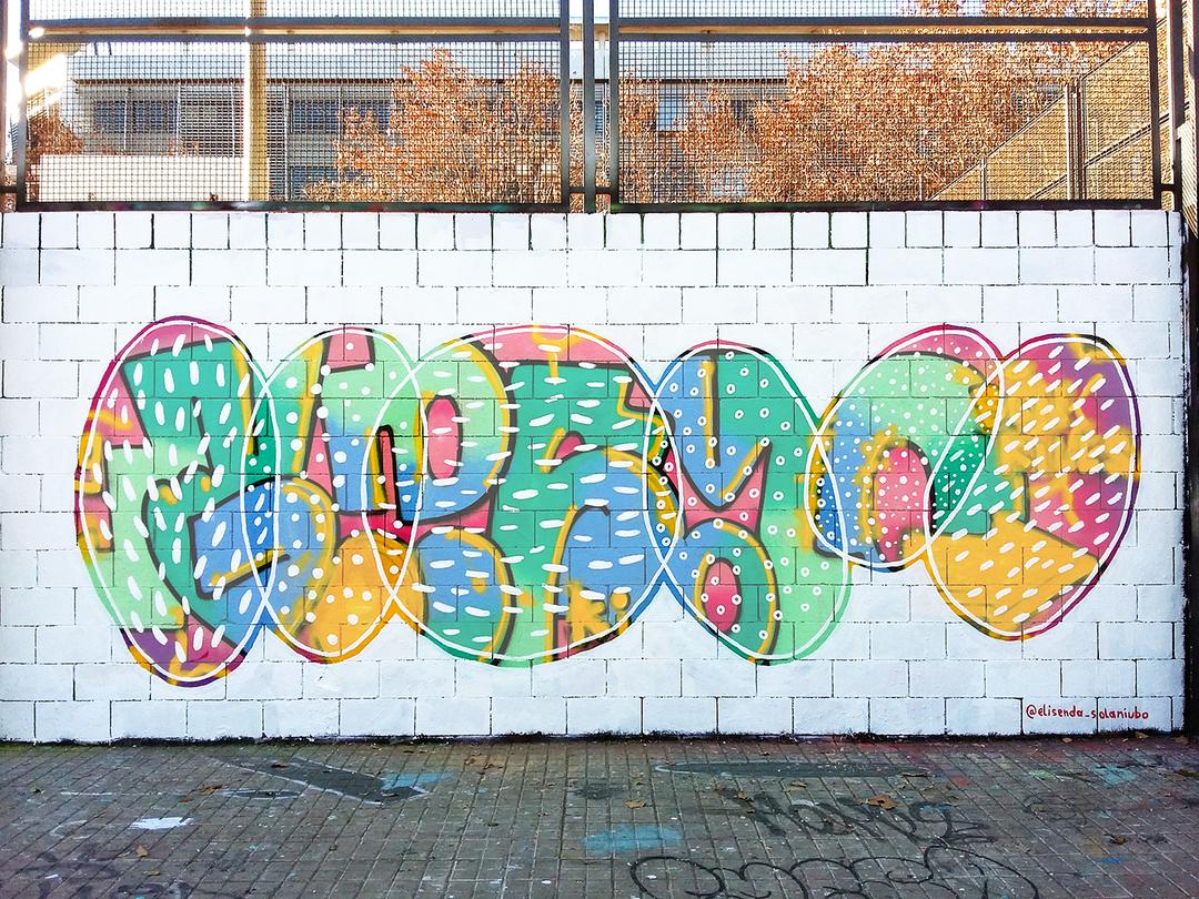 """Wallspot - elisenda_sn - Drassanes : """"diferències / coincidències"""" / mural 6x3m - Barcelona - Drassanes - Graffity - Legal Walls -"""