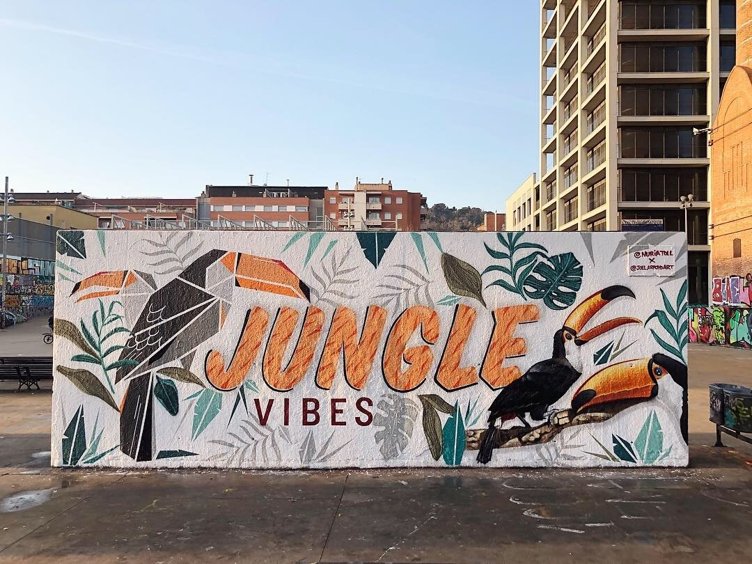 Wallspot - nuriatoll - JUNGLE vibes // combo with Joel Arroyo - Barcelona - Tres Xemeneies - Graffity - Legal Walls - Lletres, Il·lustració