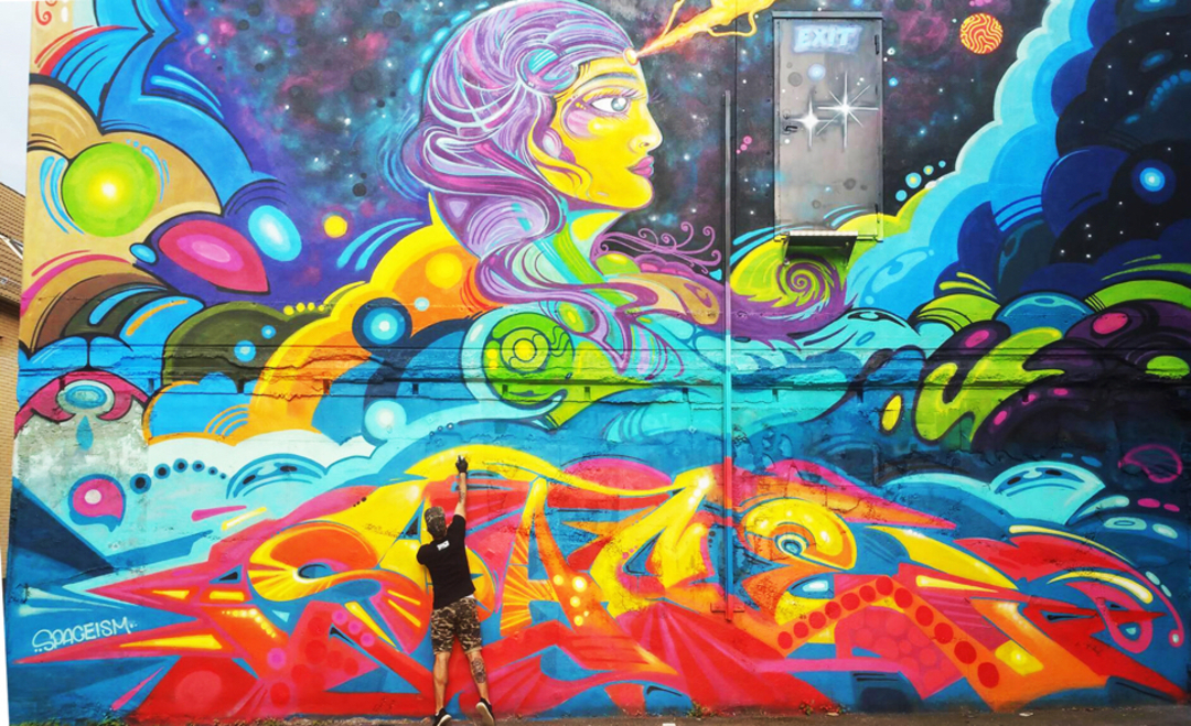 Wallspot - spaceism - cosmic woman - Göteborg - Draken - Graffity - Legal Walls - ,