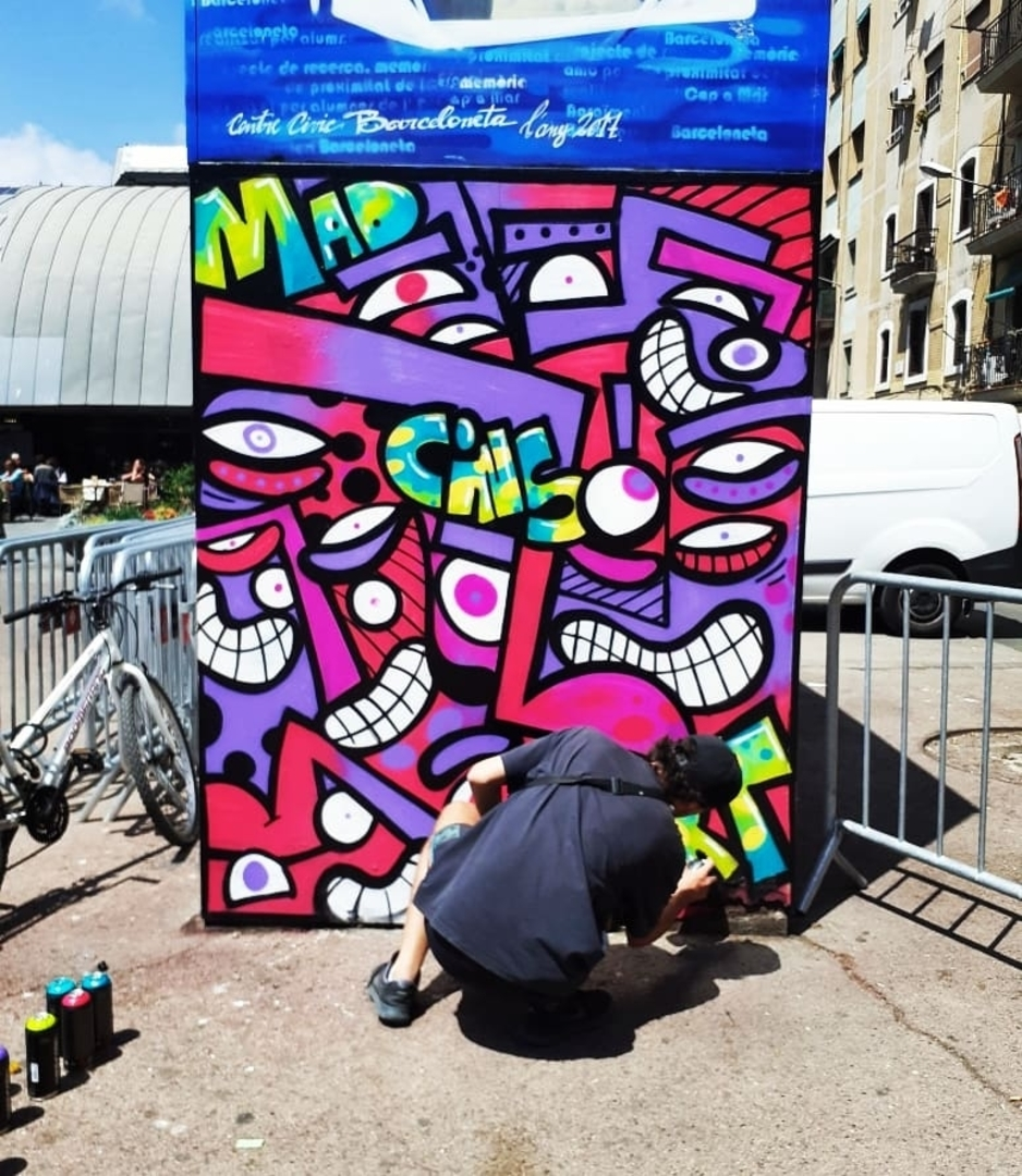 Wallspot - madcinsart - CUBE tres xemeneies - Barcelona - CUBE tres xemeneies - Graffity - Legal Walls - Letters, Stencil, Others