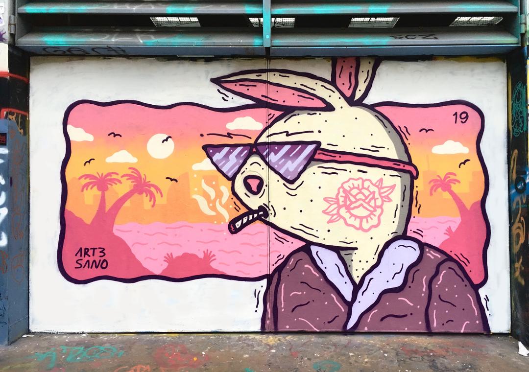 Wallspot - art3sano - El Tio Hugh aka El Conejo Malo - Barcelona - Tres Xemeneies - Graffity - Legal Walls - Il·lustració