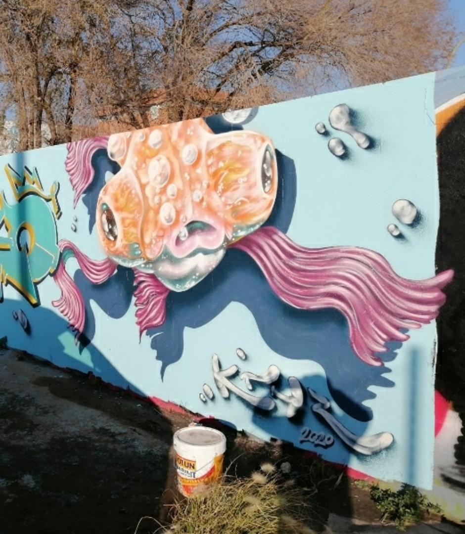 Wallspot - Uri KTHR - Telescope Goldfish - Barcelona - Parc de la Bederrida - Graffity - Legal Walls - Il·lustració