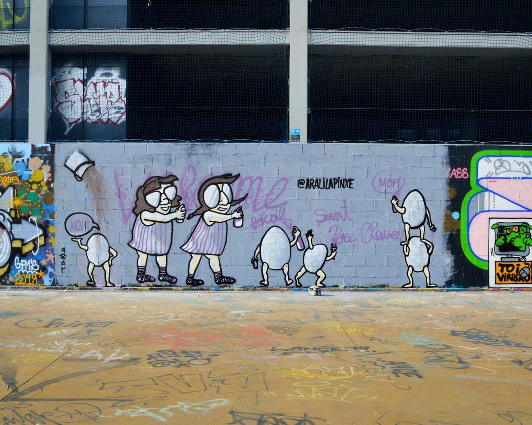 Wallspot - Splatrs - aRaL & LaPinXe - Barcelona - Tres Xemeneies - Graffity - Legal Walls - Illustration - Artist - araL