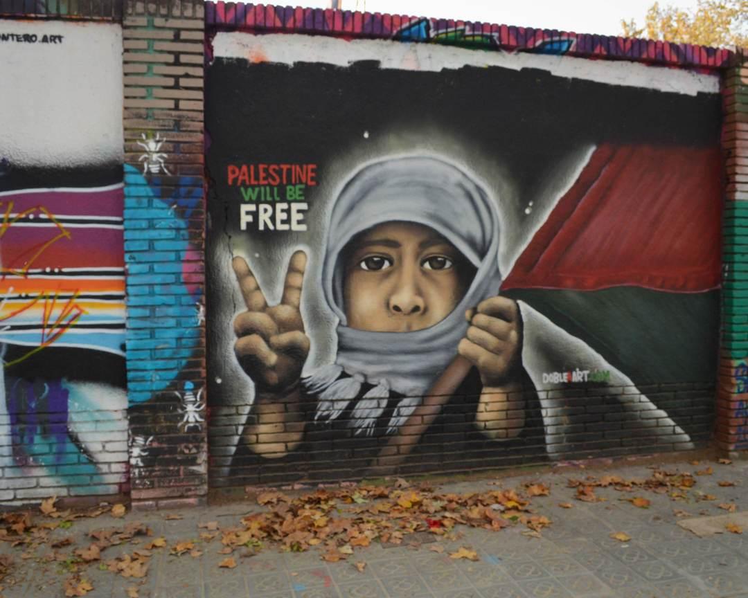 Wallspot - Splatrs - Doble A Art - Free Palestine  - Barcelona - Selva de Mar - Graffity - Legal Walls - Illustration - Artist - DOBLE A
