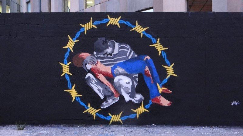 Wallspot - LaCastillo - LA PIEDAD DE SIRIA  - Barcelona - Glòries Wall - Graffity - Legal Walls - Il·lustració, Stencil, Altres