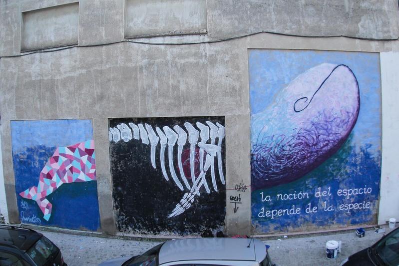 Wallspot - marinetiss - la noción del espacio depende de la especie  - Barberà del Vallès - Carretera Barcelona - Graffity - Legal Walls - Letters, Illustration