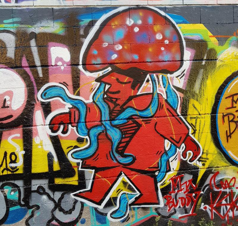 Wallspot - KSK1 The Jellyfish - KSK1 ft. Mr.Buddy & RAMO - Drassanes - Barcelona - Drassanes - Graffity - Legal Walls - Letters, Illustration, Stencil