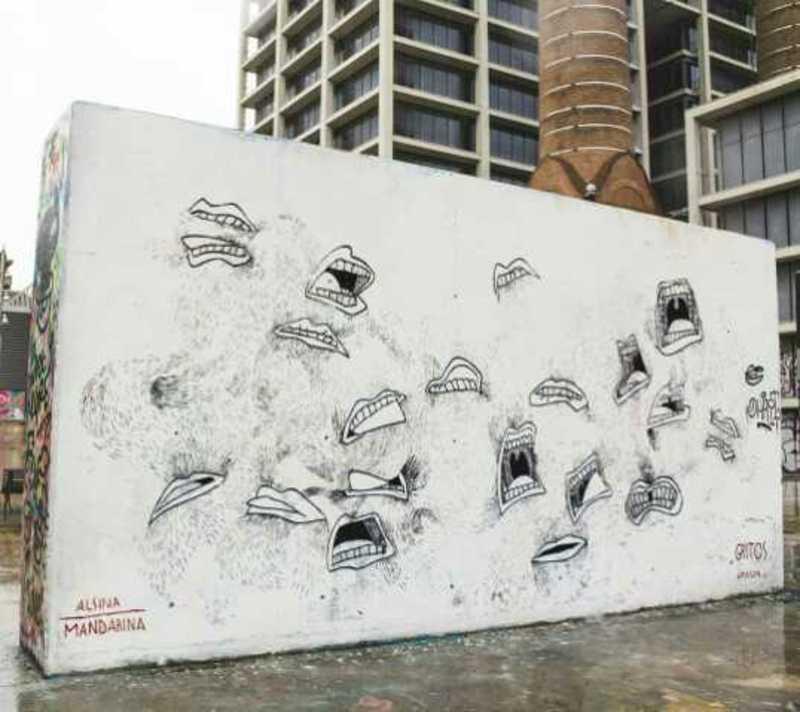 Wallspot - Alsina Mandarina - Gritos - Barcelona - Tres Xemeneies - Graffity - Legal Walls - Illustration
