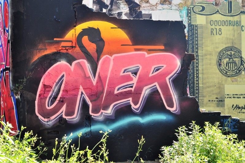 Wallspot - Oner - Flamingo sunset. - Barcelona - Western Town - Graffity - Legal Walls - Letters, Illustration, Others