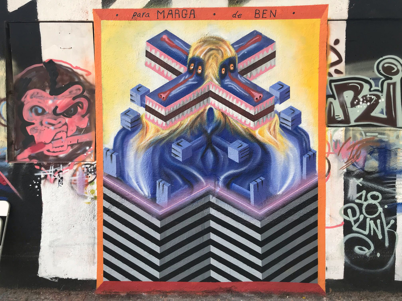 Wallspot - Ben Hunter - Monkey Puzzle - Barcelona - Western Town - Graffity - Legal Walls - Ilustración