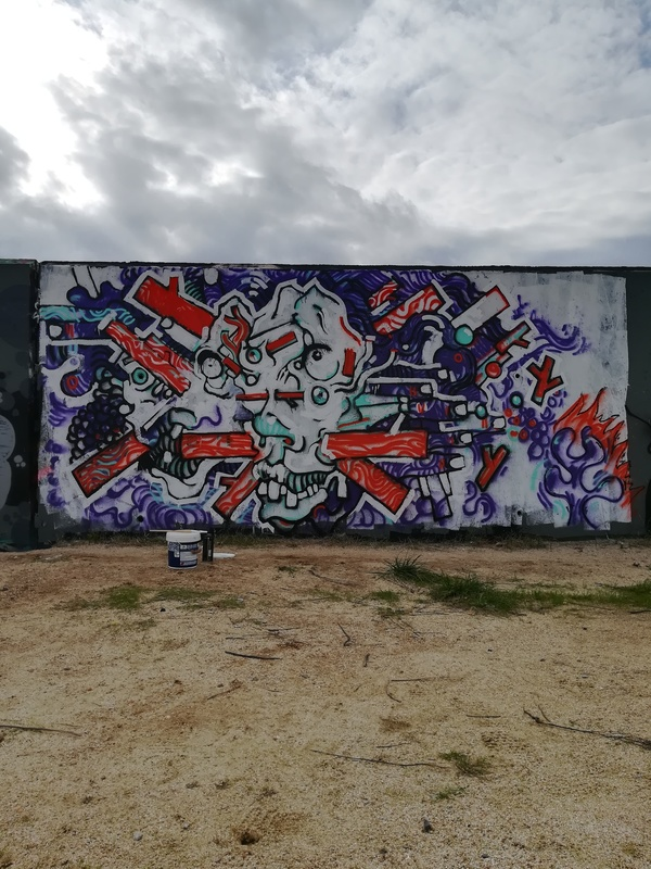 "Wallspot - andjka - Forum beach - andjka ""demolition""  - Barcelona - Forum beach - Graffity - Legal Walls - Illustration"