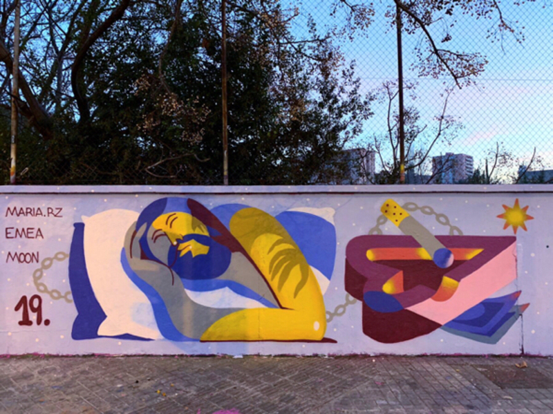 Wallspot - Maruhrz - NIGHTMARES with Emea - Barcelona - Agricultura - Graffity - Legal Walls - Illustration