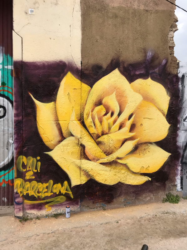 Wallspot - Jimmy Paints - A Rose for Barcelona - Barcelona - Poble Nou - Graffity - Legal Walls -