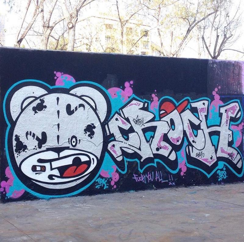 Wallspot - Zachakathescientist - Oreo Crosh - Barcelona - Tres Xemeneies - Graffity - Legal Walls - Letters, Illustration
