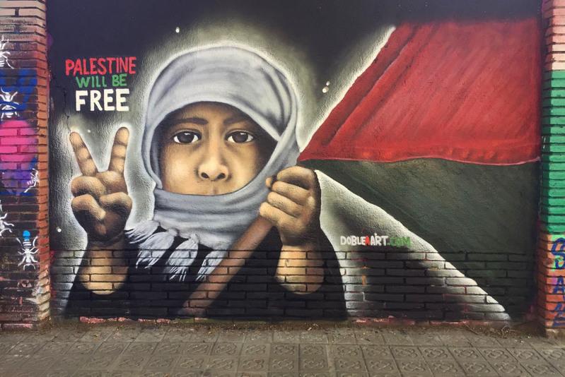 Wallspot - DOBLE A - Palestine will be free - Barcelona - Selva de Mar - Graffity - Legal Walls - Illustration