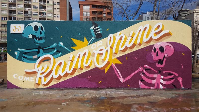 Wallspot - jdbarranger - Come Rain Or Shine - Barcelona - Tres Xemeneies - Graffity - Legal Walls - Lletres, Il·lustració