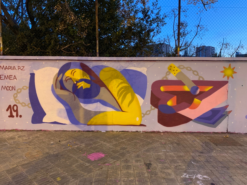 Wallspot - vamp - Emea + Maria Rz + Moon - Barcelona - Poble Nou - Graffity - Legal Walls - ,